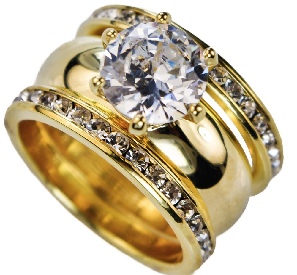 Ladies 65 carat 3 ring round wedding set 18k yellow gold for 18k gold wedding ring set