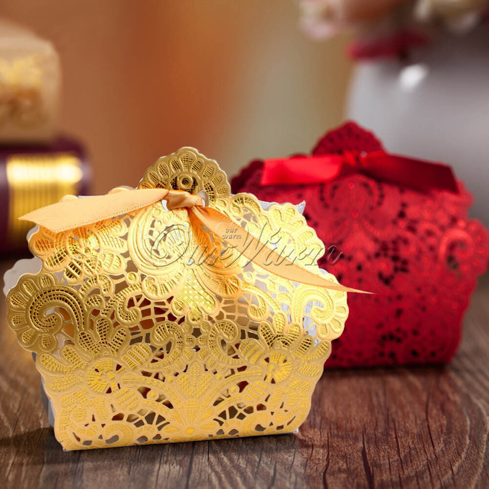 Gold/Red Wedding Favor Box Gift Bags Rose Laser Cut Hollow