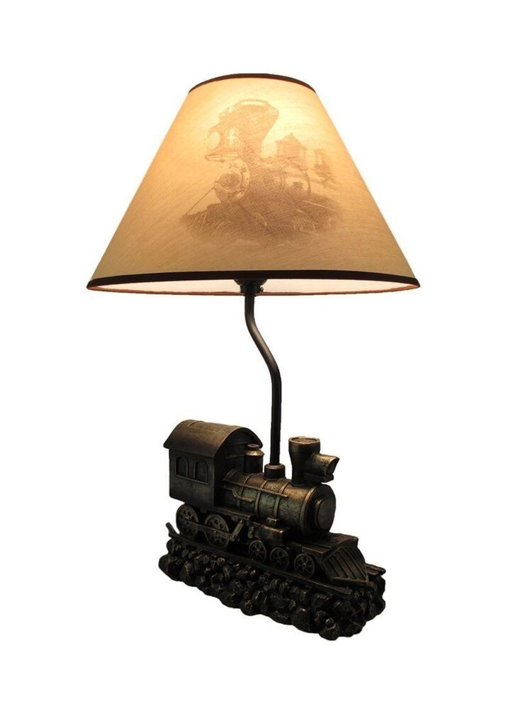 Locomotive Old Fashioned Train Sculpture Table Lamp with ...