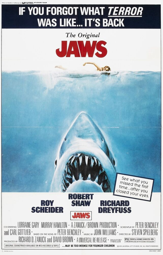 JAWS Movie Poster SPEILBERG Great White | eBay