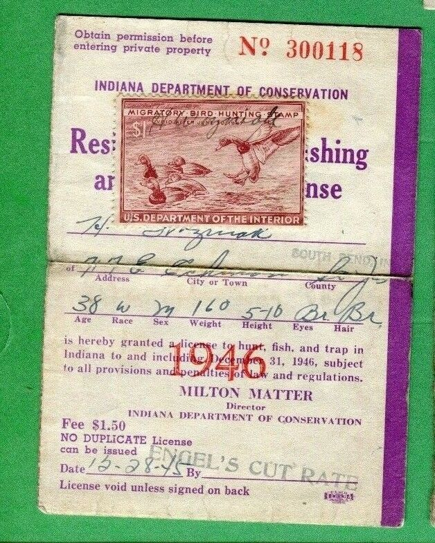 Indiana 1946 resident hunting fishing trapping license for Washington non resident fishing license