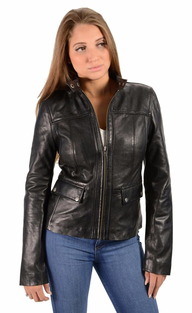 Outbrook ladies size medium 8/10, black leather full zipper, attached belt (back belt portion sewn on), 2 hand pocket used leather coat/jacket. Features a collar, % polyester interior lining. Normal wear, slight peeling at sleeves.