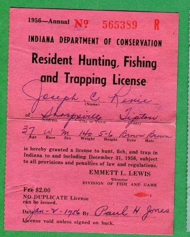 Indiana 1969 resident hunting fishing trapping license for How much is a fishing license in indiana