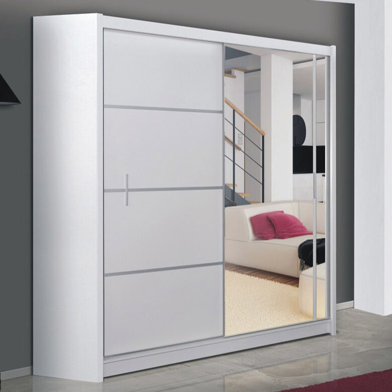 kleiderschrank vista 180 schrank mit spiegel schiebet r schwebet renschrank ebay. Black Bedroom Furniture Sets. Home Design Ideas