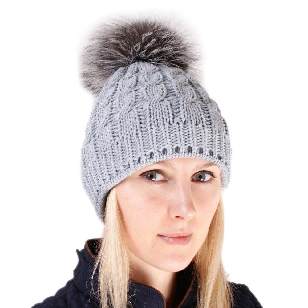 065e7f2d1e3 Grey Wool Hat With Silver Fox Fur Pom Pom Ashen Beanie Winter Cap Bobble Hat  Ski