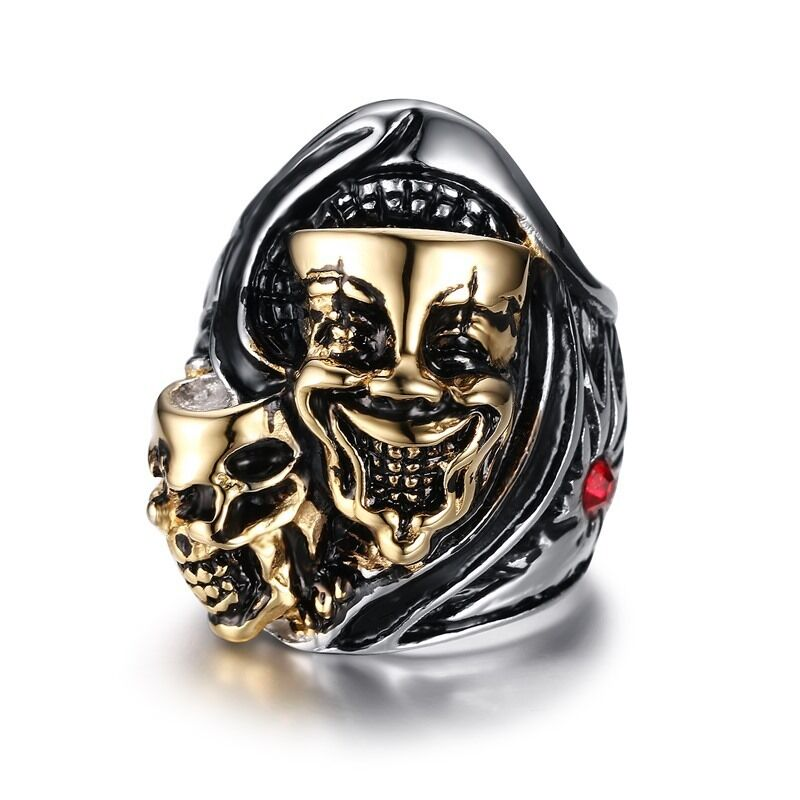 Punk Gold Skull Red Rhinestone Stainless Steel Biker Ring