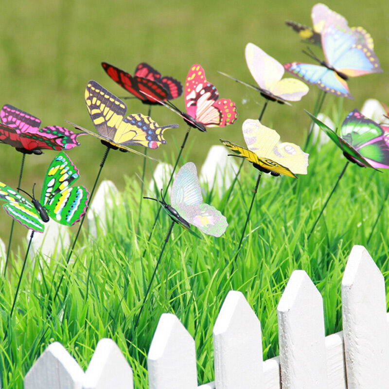 10 x butterfly on sticks art decoration garden vase lawn for Butterflies for crafts and decoration