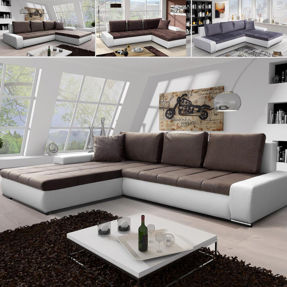 ecksofa eckcouch sara mini lux mit schlaffunktion schmutzabweisende stoffe ebay. Black Bedroom Furniture Sets. Home Design Ideas