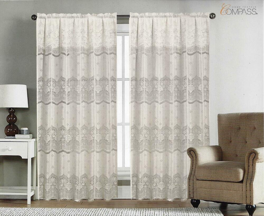 Window With Attached Valance Curtains : Window curtain rod pocket panel lace with attached