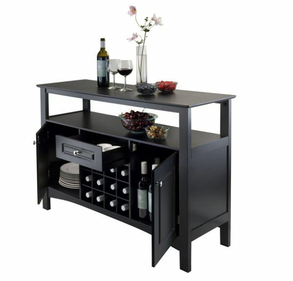 Wine Rack Dining Table: Wooden Storage Buffet Table Cabinet Drawer 12 Wine Bottle