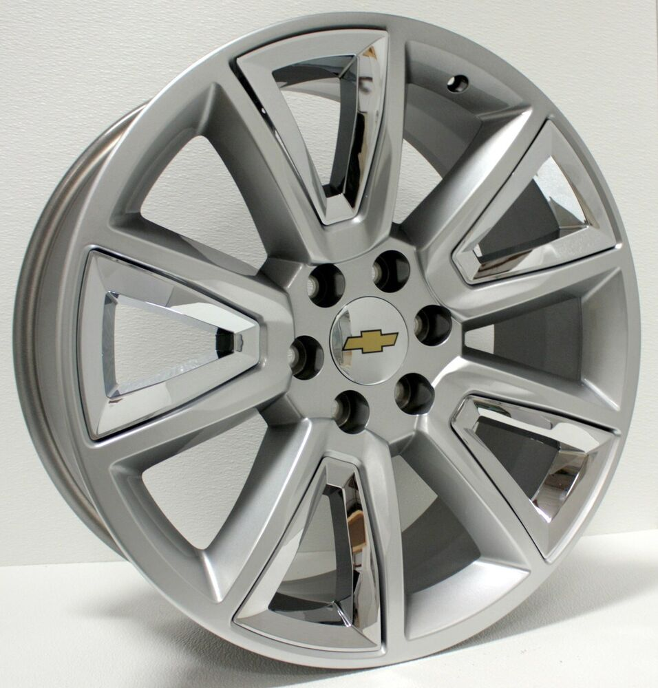new 22 inch hyper silver w chrome insert chevy wheels silverado tahoe avalanche ebay. Black Bedroom Furniture Sets. Home Design Ideas