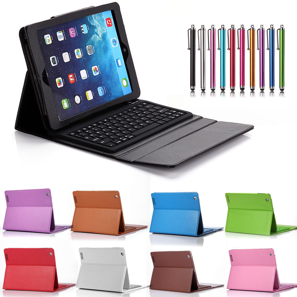 Leather Stand Cover Case Bluetooth Keyboard for Apple iPad ...  Leather Stand C...