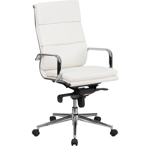 MODERN HIGH BACK OFFICE CHAIR White Leather Designer Conference Meeting Room