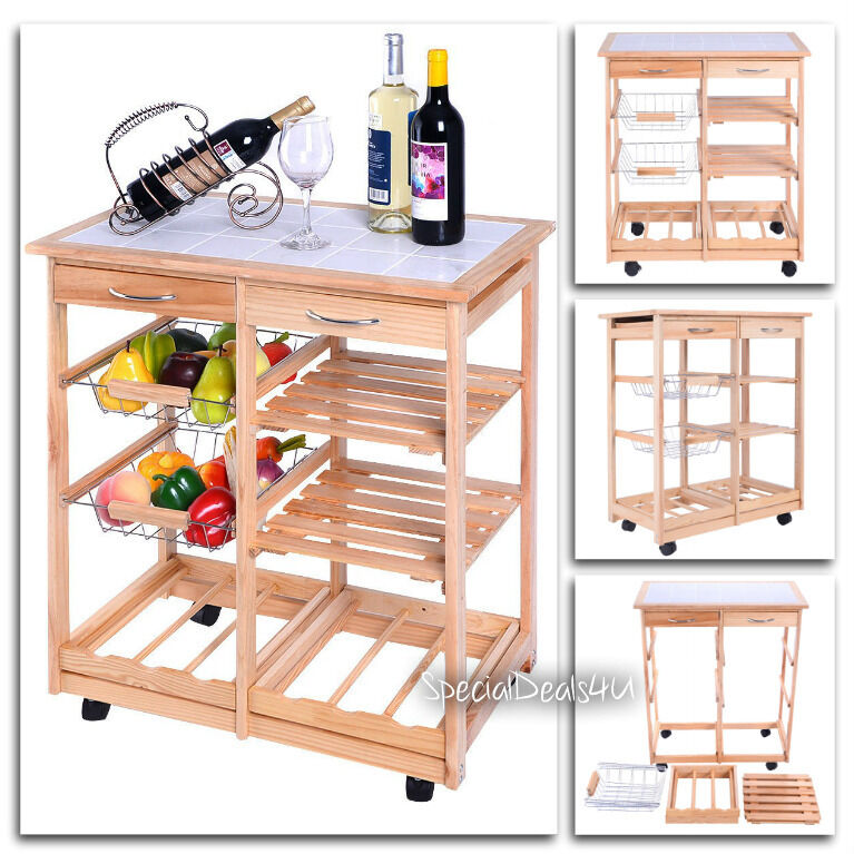 kitchen trolley cart island storage rolling wood utility