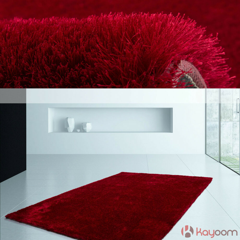hochflor teppich handgefertigt baumwolle shaggy teppiche supersoft rot sale ebay. Black Bedroom Furniture Sets. Home Design Ideas