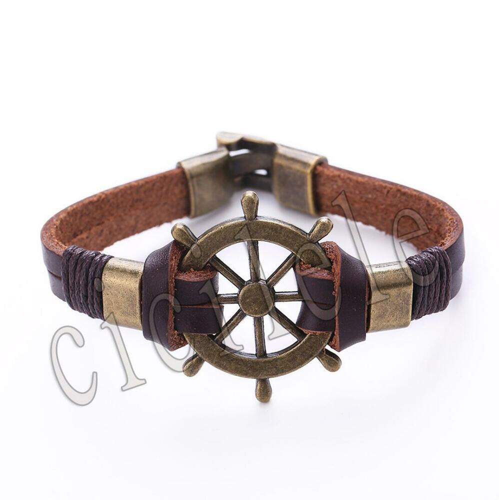 Women Men Multilayer Leather Handmade Cuff Wristband ...