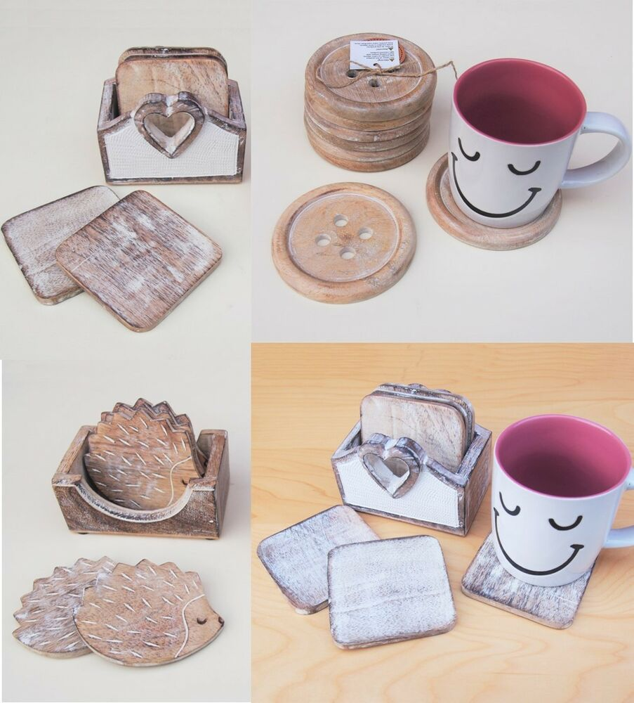6 Button Heart Coasters With Storage Holder Wooden Mat