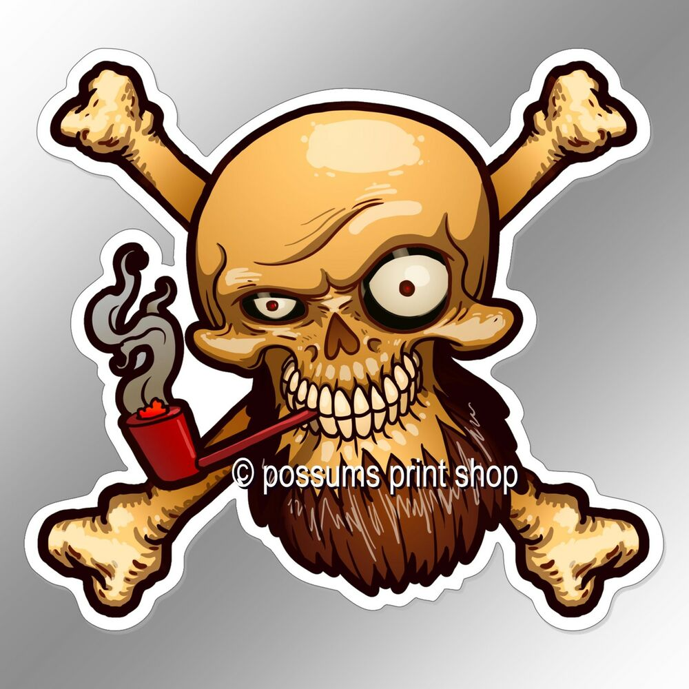 Details about funny car bumper sticker pirate skull beard smoking red pipe 102 x 93 mm decal
