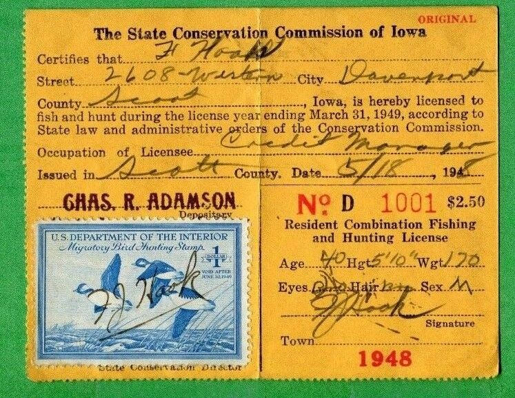 Iowa 1948 resident hunting license w rw15 duck stamp for Fishing license indiana