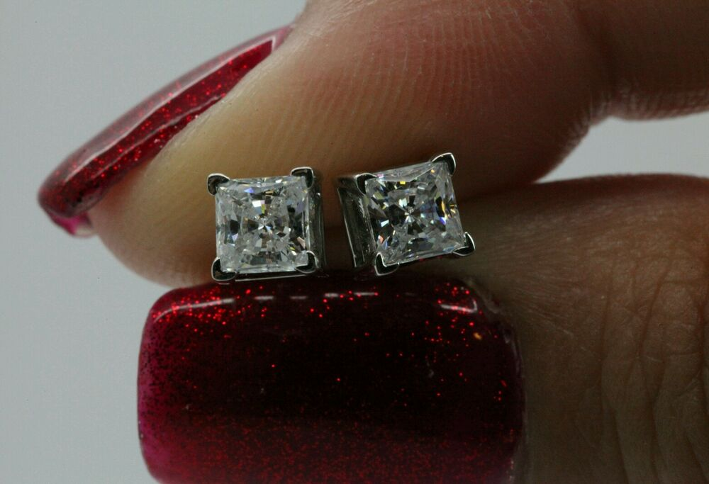 1ct princess cut stud earrings in solid 14k real white. Black Bedroom Furniture Sets. Home Design Ideas