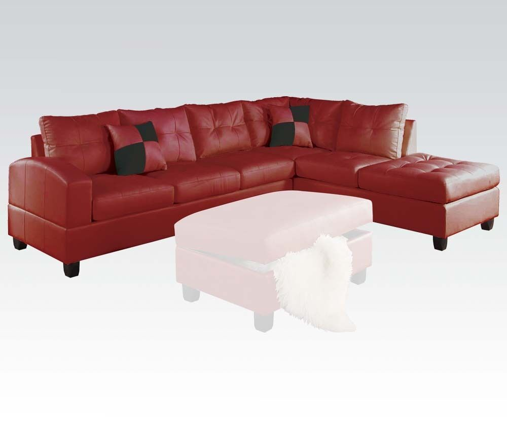 Living Room Sectional Sofa Set Red Modern Bonded Leather