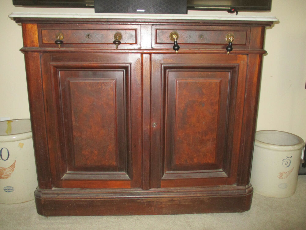walnut victorian marble top sideboard ebay. Black Bedroom Furniture Sets. Home Design Ideas