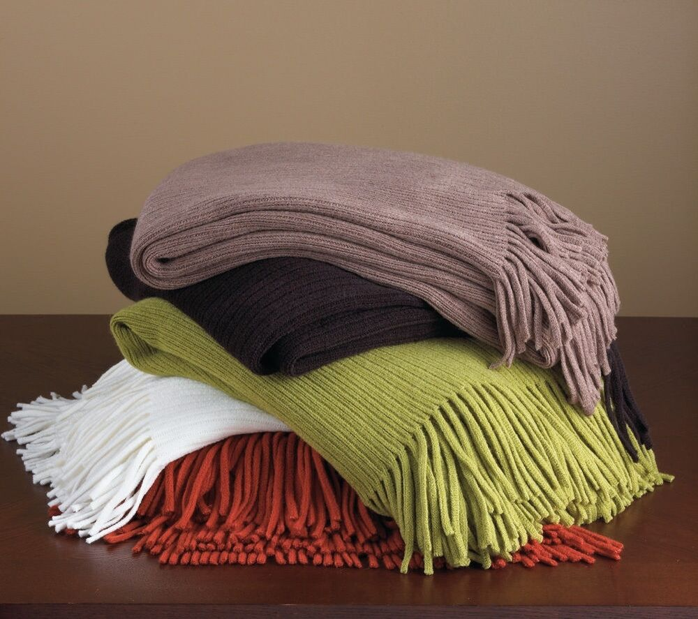 Home decor faux cashmere soft cozy fringed throw blanket for Soft blankets and throws