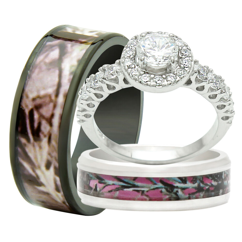 His Titanium Camo Hers 925 Sterling Silver 3PCS Engagement ...