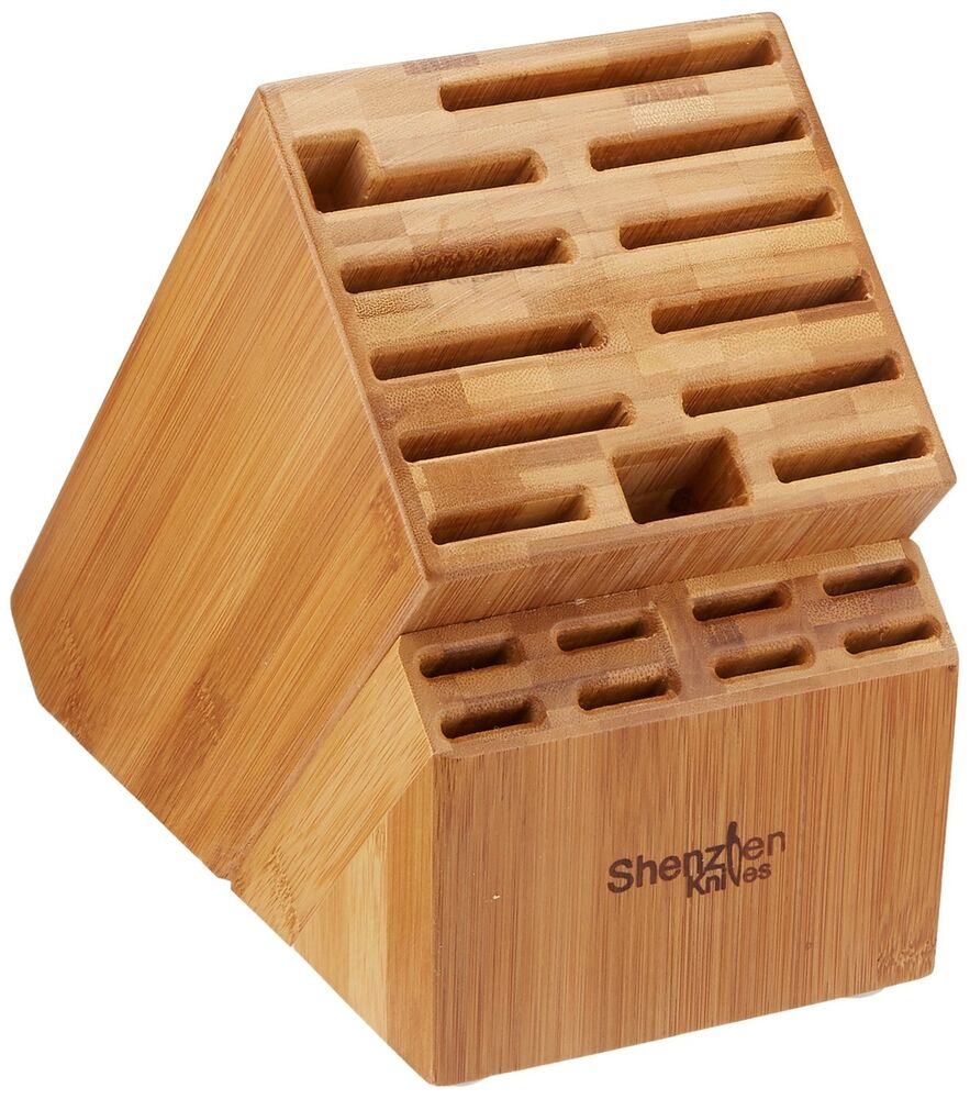 20 Slot Bamboo Universal Knife Block Without Knives Knife
