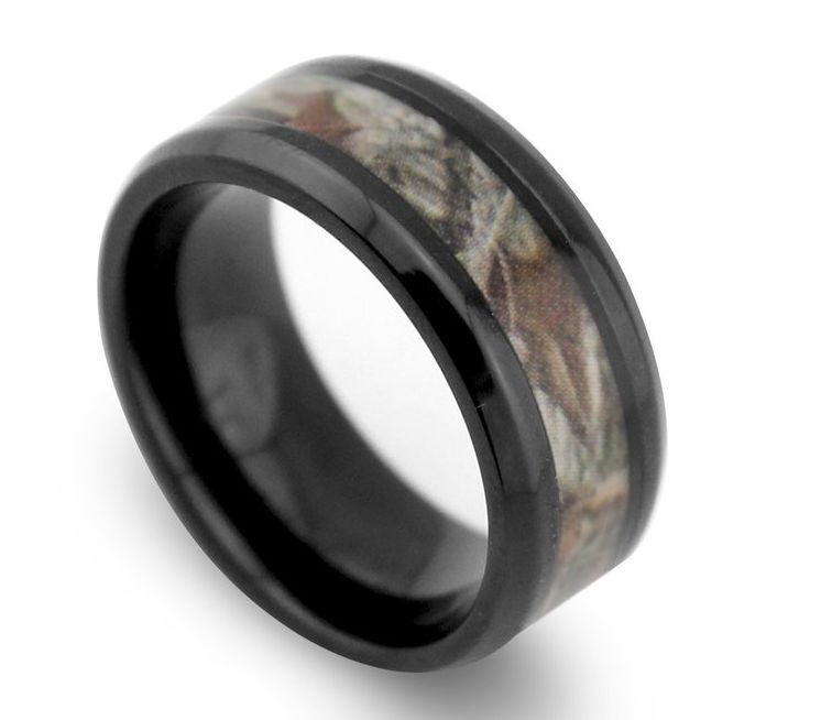 8mm black beveled tungsten wedding bands ring camo tree for Camo mens wedding rings