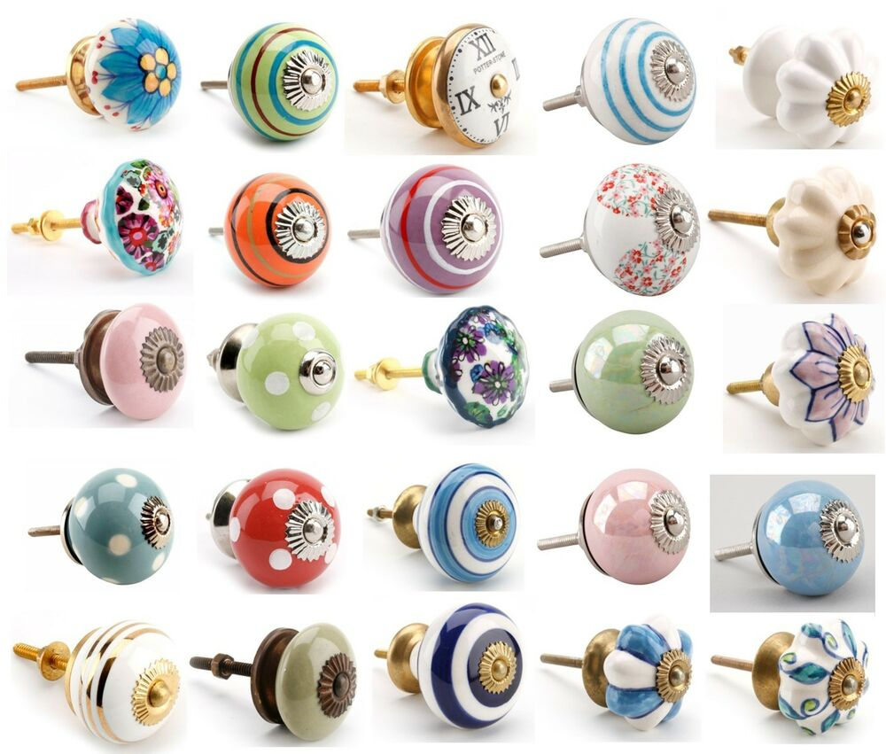 Ceramic Kitchen Cabinet Handles Drawer Pull Knobs Antique: Vintage Ceramic Drawer Knob Pull Handles Door Cupboard