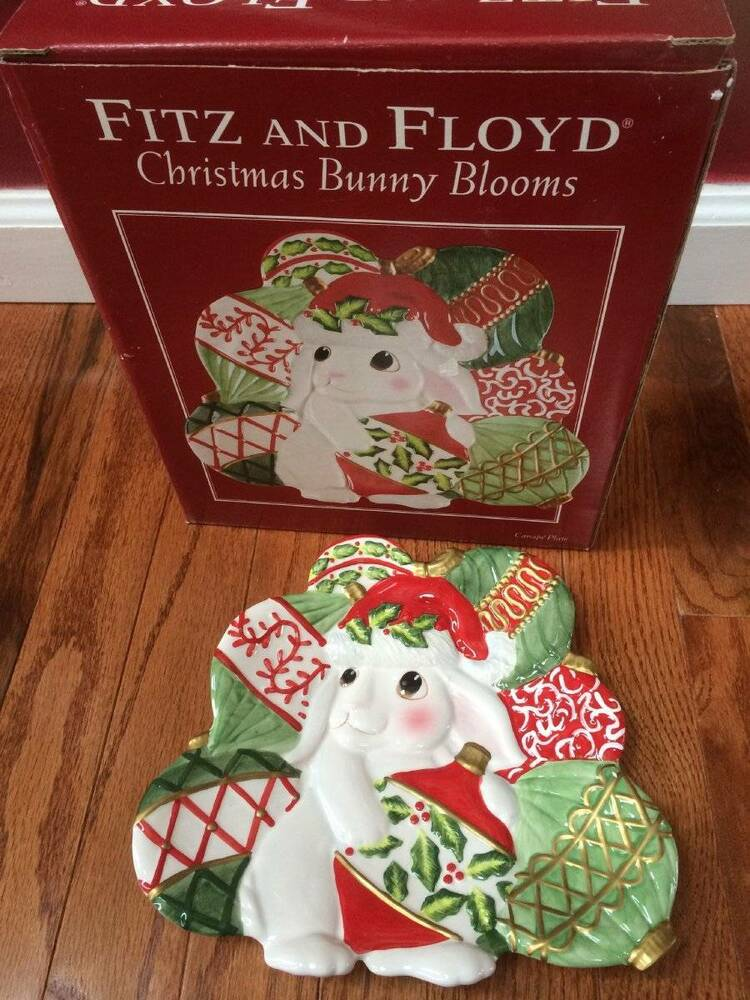 Fitz and floyd christmas bunny blooms canape plate for Fitz and floyd canape plate