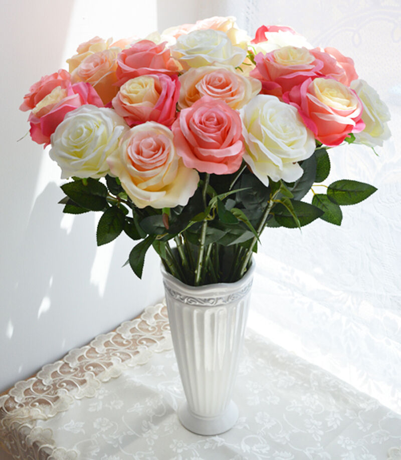 Silk flowers 1pc fake floral wedding rose flowers home for Artificial flower for wedding decoration