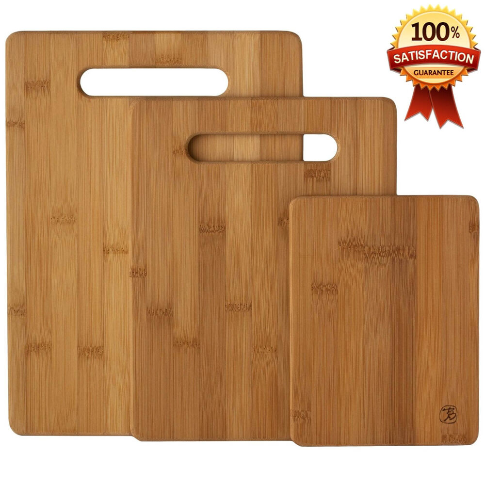 New Bamboo 3 Set Piece Cutting Board Totally Kitchen Wood Chopping Boards Ebay