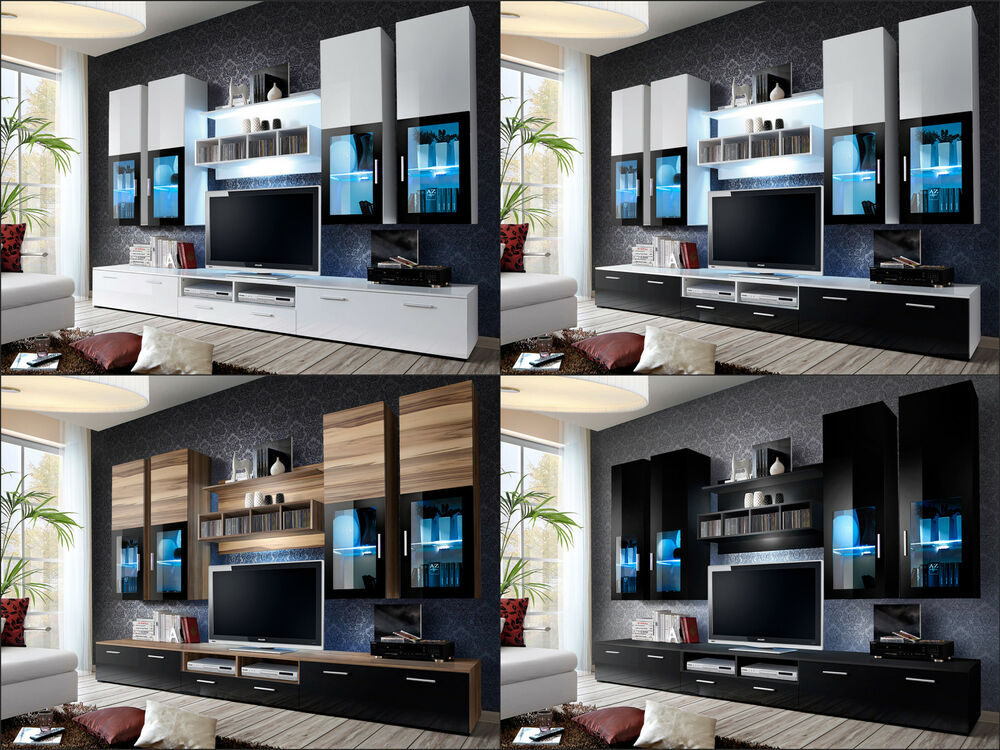 living room led tv furniture modern wall unit tv display living room high gloss led 19922