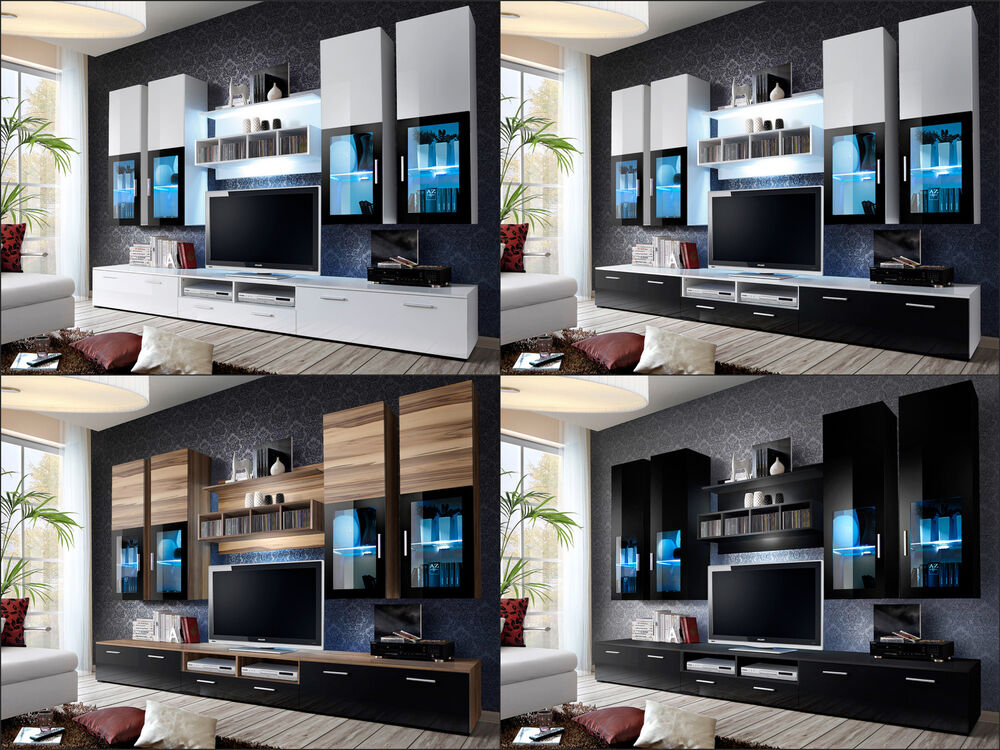 Modern wall unit tv display living room high gloss led - Wall units for living room mumbai ...