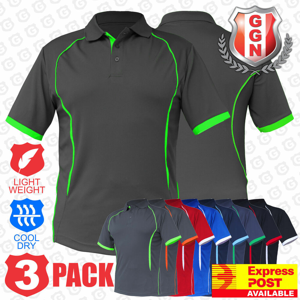 3x Mens Polo Shirts SPORTS WORK CLUB GYM TEAM TRADIES OFFICE ACTIVE UNIFORM | EBay