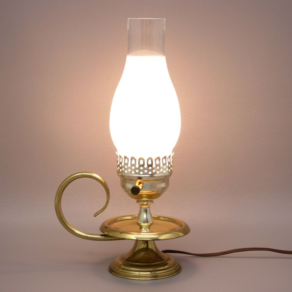 Vtg 14 Brass Candle Oil Style Electric Table Lamp Hurricane Frosted Han