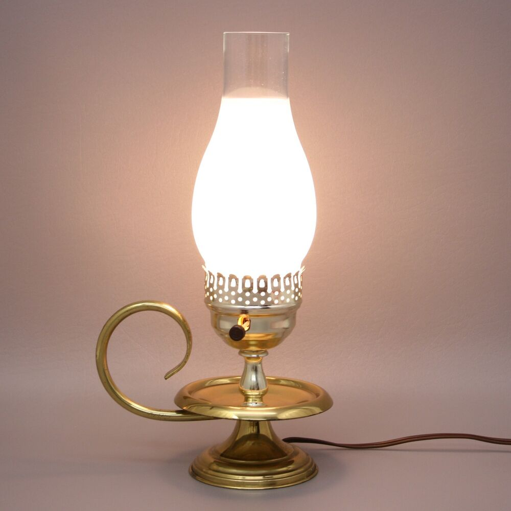 vtg 14 brass candle oil style electric table lamp. Black Bedroom Furniture Sets. Home Design Ideas