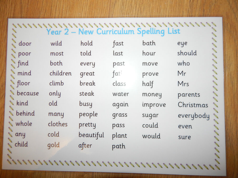 Year 2 Key Words A4 Poster Mat Ks1 High Frequency Words