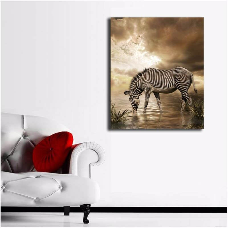 Animal Home Decor: Zebra Stretched Canvas Prints Framed Hanging Wall Art Home