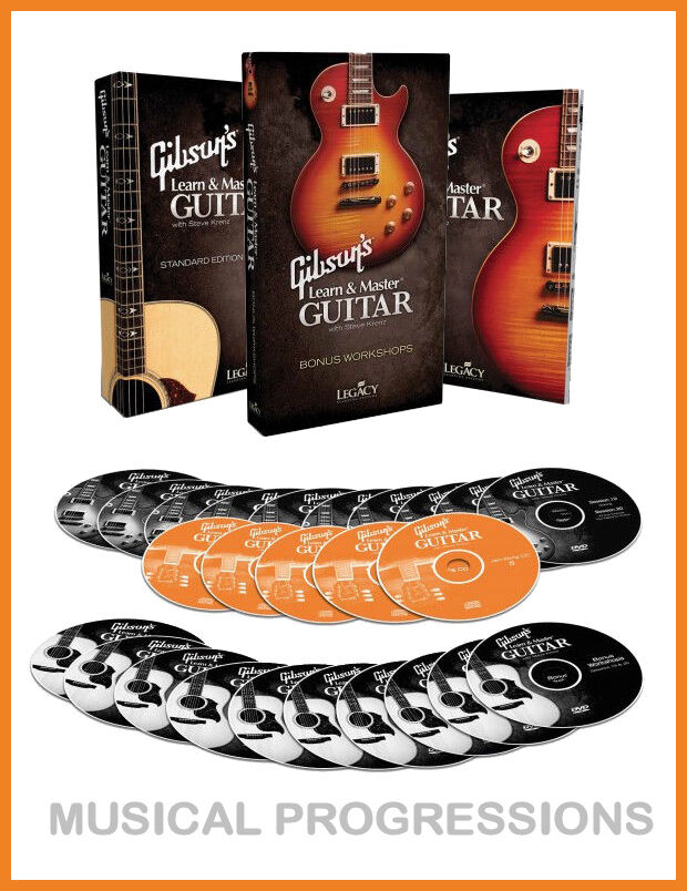 gibson 39 s learn and master guitar deluxe 20 dvds book cds instruction new ebay. Black Bedroom Furniture Sets. Home Design Ideas