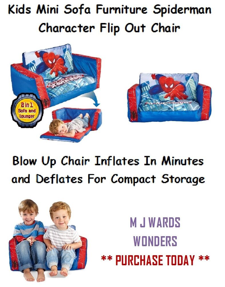 Kids Mini Sofa Furniture Spiderman Character Flip Out