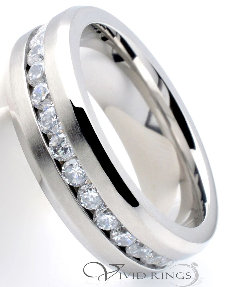 Mens stainless steel clear cz band men 39 s 7mm eternity ring for Mens eternity wedding band