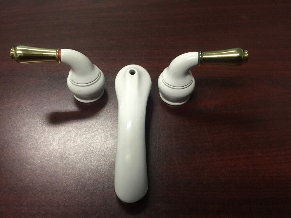 Moen White Two Handle Low Bathroom Faucet Set Missing