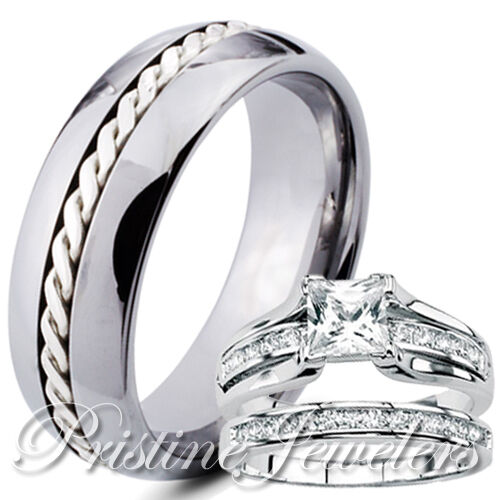 silver wedding rings for her his tungsten 925 sterling silver engagement wedding 7463