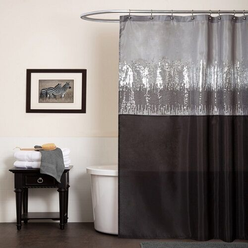 Silver black shower curtain gray shimmer bathroom home for Grey silver bathroom accessories