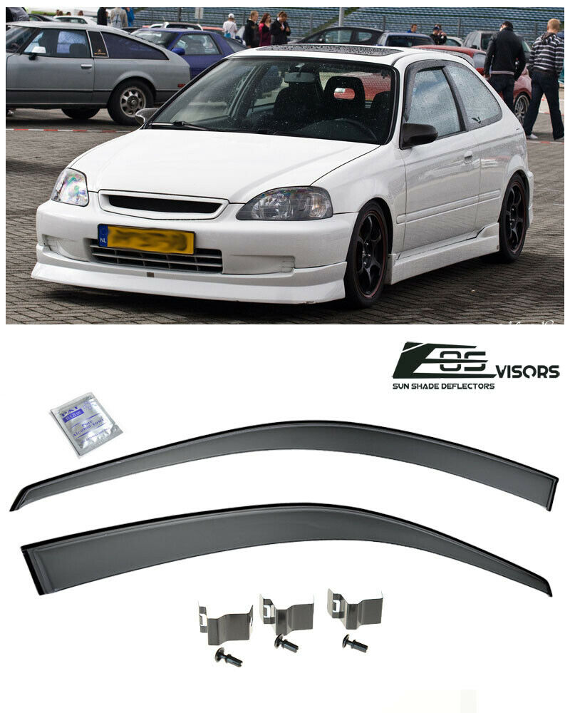 For 96-00 Civic EK Coupe Smoke Tinted CLIP ON JDM Side