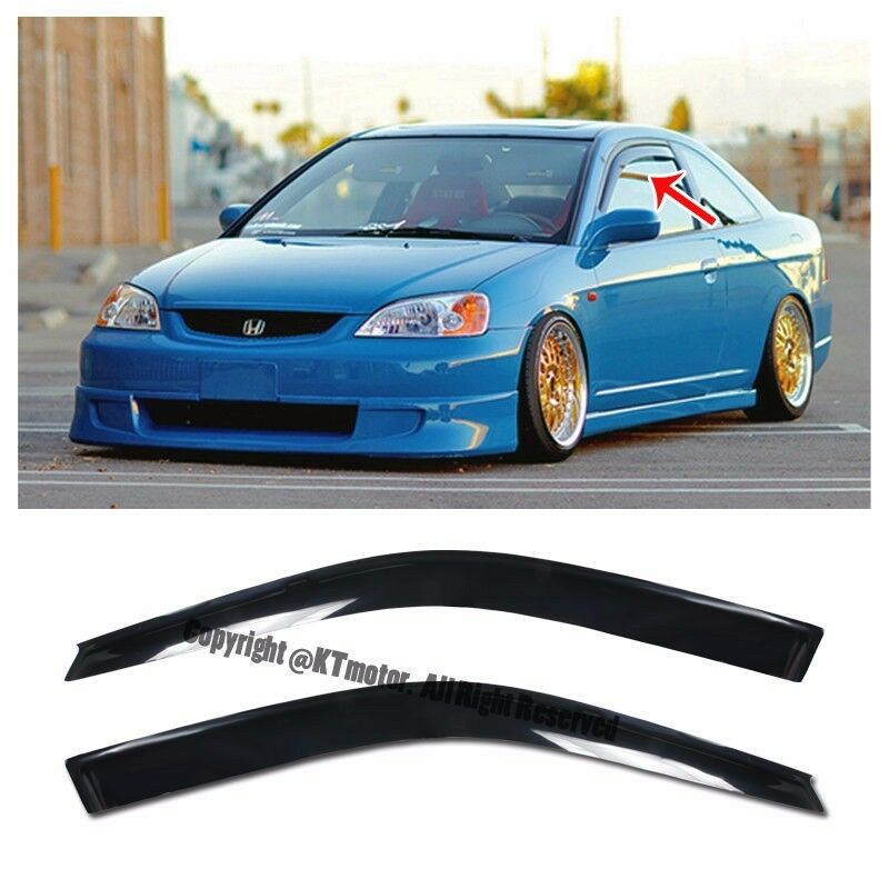 For 01 05 honda civic 2dr coupe smoke tinted jdm side for 2001 honda civic rear window visor