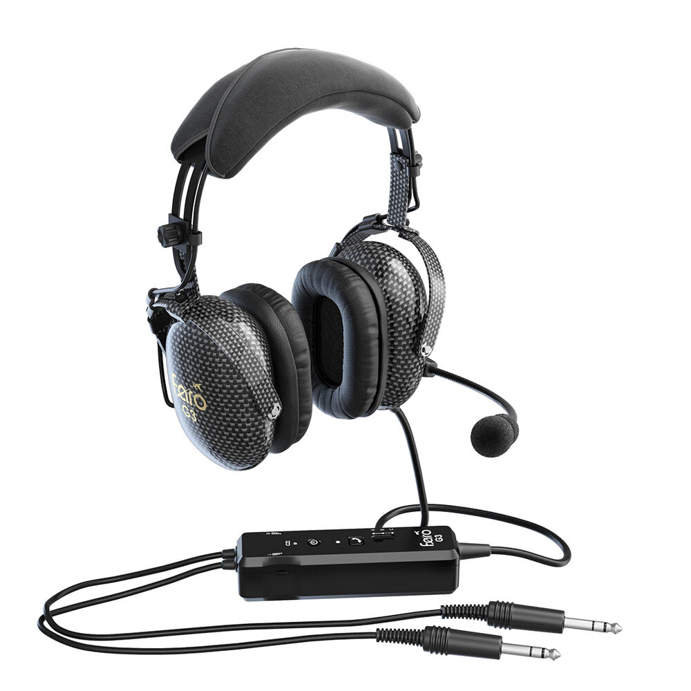 Faro G3 Carbon - Active Noise Reduction (ANR) Aviation Pilot Headset - Bluetooth
